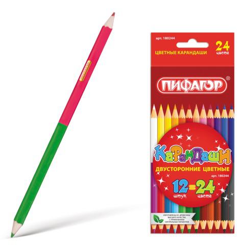Карандаши двухцветные ПИФАГОР 12 шт., 24 цветов, заточенные, картонная упаковка, 180244  Код: 180244