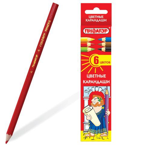 Карандаши цветные  ПИФАГОР  6 цветов, классические, заточенные, картонная упаковка, 180295  Код: 180295