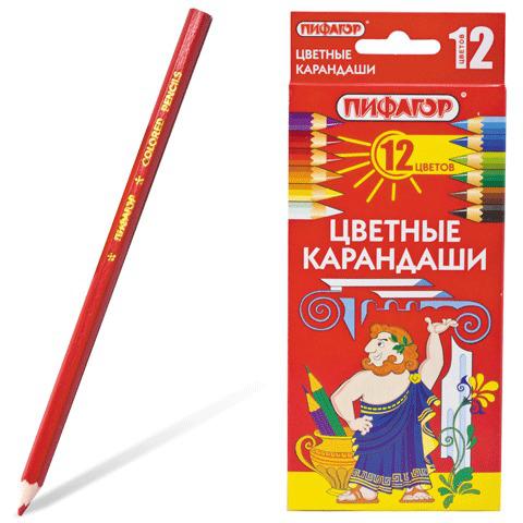 Карандаши цветные  ПИФАГОР 12 цветов, классические, заточенные, картонная упаковка, 180296  Код: 180296