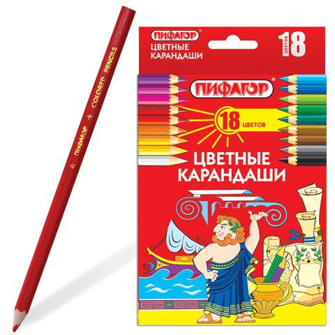 Карандаши цветные ПИФАГОР 18 цветов, классические, заточенные, картонная упаковка, 180297  Код: 180297