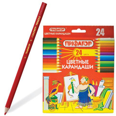 Карандаши цветные  ПИФАГОР 24 цветов, классические, заточенные, картонная упаковка, 180298  Код: 180298