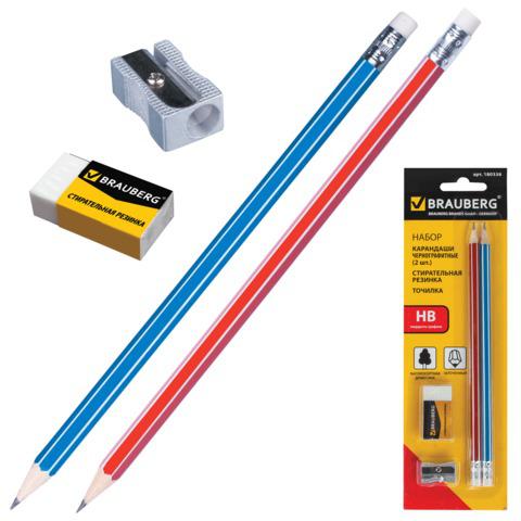 Набор BRAUBERG (Брауберг) 2 карандаша (корп.из дерева)+стирательная резинка+точилка, на блистере, арт. 180338  Код: 180338
