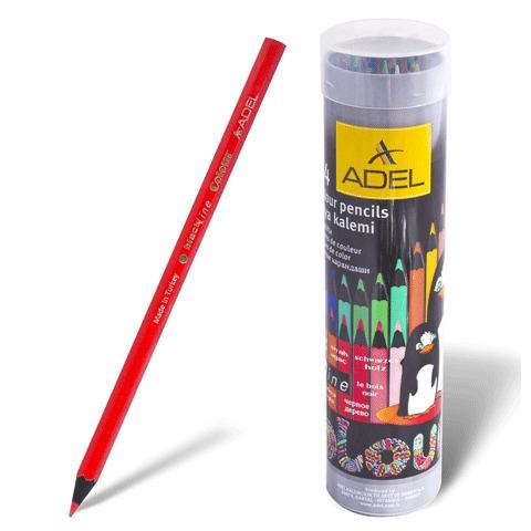 """Карандаши цветные ADEL """"Colour"""", 24цв, черное дерево, алюминиевый тубус, 211-2362-003  Код: 180414"""