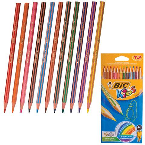 """Карандаши цветные BIC """"Tropicolors"""", 12 цв, пластиковые, заточенные, европодвес, 8325669  Код: 180458"""