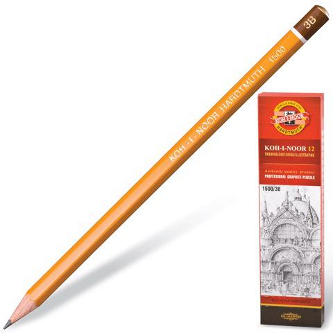 Карандаш ч/гр KOH-I-NOOR 1500, 1шт., 3B, без резинки, корпус желтый, заточенный  Код: 180476