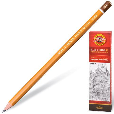 Карандаш ч/гр KOH-I-NOOR 1500, 1шт., 3H, без резинки, корпус желтый, заточенный  Код: 180477