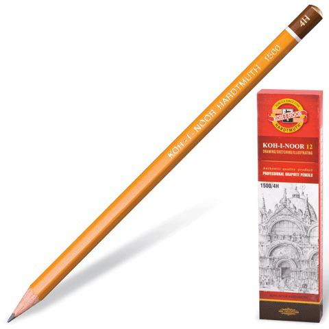 Карандаш ч/гр KOH-I-NOOR 1500, 1шт., 4H, без резинки, корпус желтый, заточенный  Код: 180479