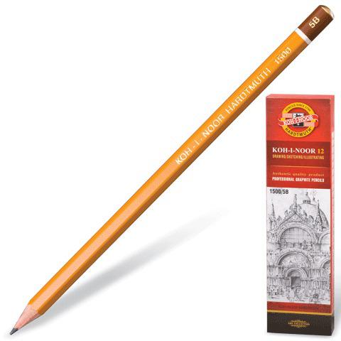 Карандаш ч/гр KOH-I-NOOR 1500, 1шт., 5B, без резинки, корпус желтый, заточенный  Код: 180480