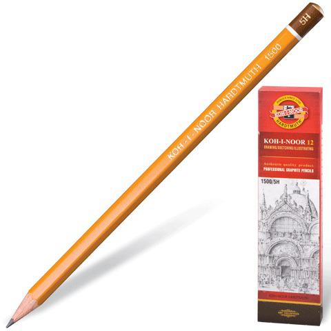 Карандаш ч/гр KOH-I-NOOR 1500, 1шт., 5H, без резинки, корпус желтый, заточенный  Код: 180481