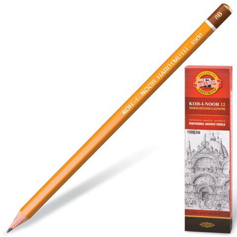 Карандаш ч/гр KOH-I-NOOR 1500, 1шт., 6B, без резинки, корпус желтый, заточенный  Код: 180482