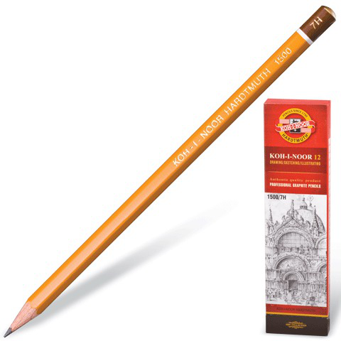 Карандаш ч/гр KOH-I-NOOR 1500, 1шт., 7H, без резинки, корпус желтый, заточенный  Код: 180485