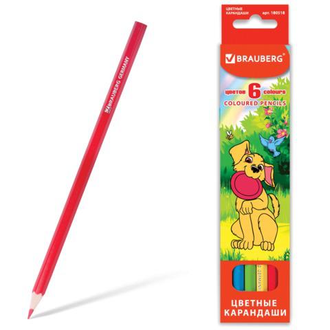 """Карандаши цветные BRAUBERG (Брауберг) """"My lovely dogs"""", 6 цветов, заточенные, картонная упаковка, 180518  Код: 180518"""