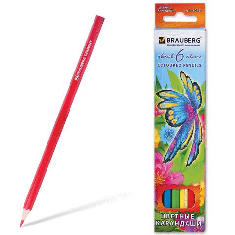 """Карандаши цветные BRAUBERG (Брауберг) """"Wonderful butterfly"""", 6 цветов, заточенные, картонная упаковка с блестками, 180522  Код: 180522"""