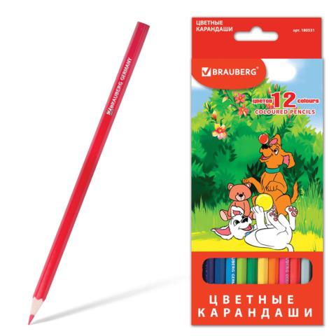 """Карандаши цветные BRAUBERG (Брауберг) """"My lovely dogs"""", 12 цветов, заточенные, картонная упаковка, 180531  Код: 180531"""