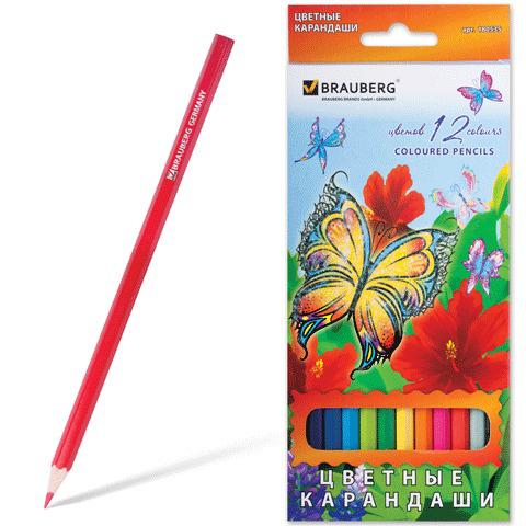 "Карандаши цветные BRAUBERG (Брауберг) ""Wonderful butterfly"", 12 цветов, заточен., картонная упаковка с блестками, 180535  Код: 180535"