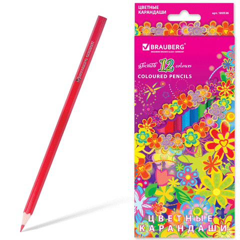 """Карандаши цветные BRAUBERG (Брауберг) """"Blooming flowers"""", 12 цветов, заточенные, картонная упаковка, 180536  Код: 180536"""
