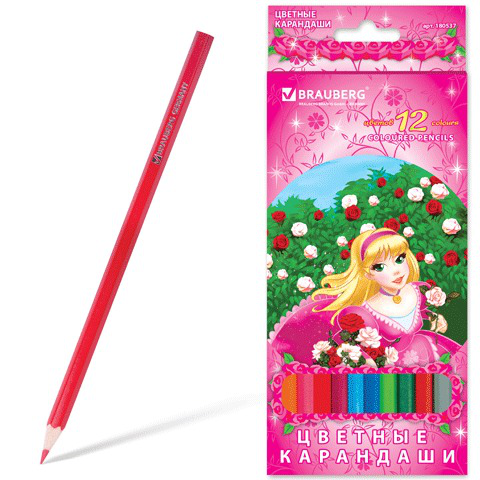 """Карандаши цветные BRAUBERG (Брауберг) """"Rose Angel"""", 12 цветов, заточенные, картонная упаковка, 180537  Код: 180537"""