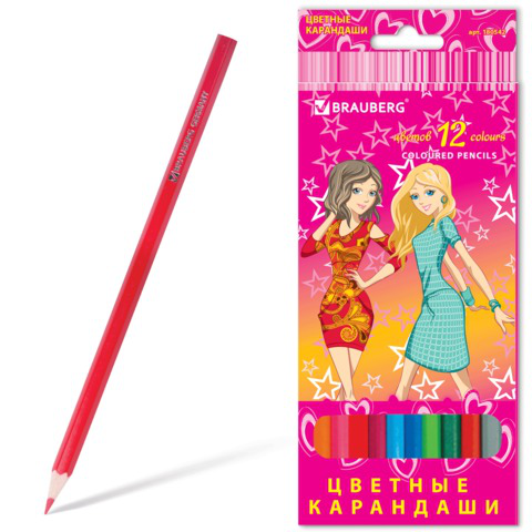 """Карандаши цветные BRAUBERG (Брауберг) """"Pretty Girls"""", 12 цветов, заточенные, картонная упаковка, 180542  Код: 180542"""
