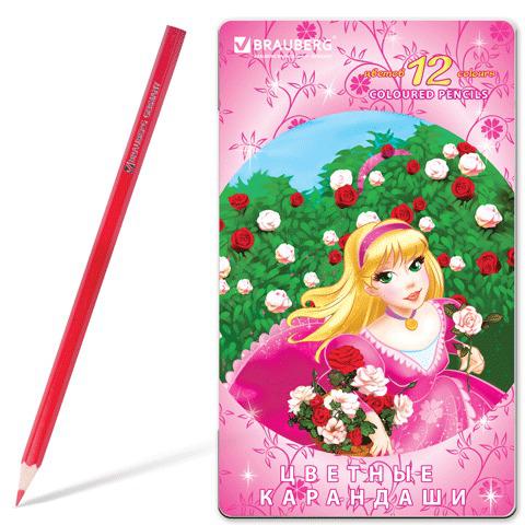 """Карандаши цветные BRAUBERG (Брауберг) """"Rose Angel"""", 12 цветов, металлическая упаковка, 180544  Код: 180544"""