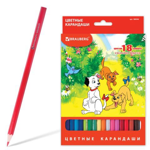 """Карандаши цветные BRAUBERG (Брауберг) """"My lovely dogs"""", 18 цветов, заточенные, картонная упаковка, 180546  Код: 180546"""