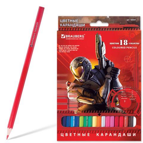 """Карандаши цветные BRAUBERG (Брауберг) """"Star Patrol"""", 18 цветов, заточенные, картонная упаковка, 180547  Код: 180547"""