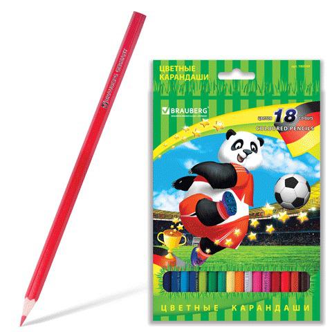 """Карандаши цветные BRAUBERG (Брауберг) """"Football match"""", 18 цветов, заточенные, картонная упаковка, 180549  Код: 180549"""