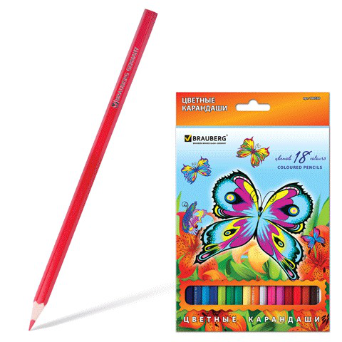 "Карандаши цветные BRAUBERG (Брауберг) ""Wonderful butterfly"", 18 цветов, заточен., картонная упаковка с блестками, 180550  Код: 180550"