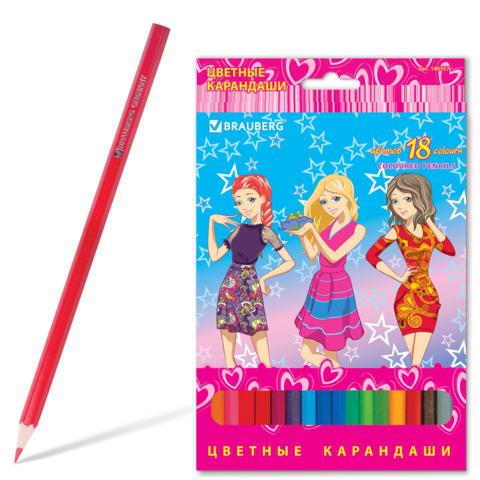"""Карандаши цветные BRAUBERG (Брауберг) """"Pretty Girls"""", 18 цветов, заточенные, картонная упаковка, 180557  Код: 180557"""