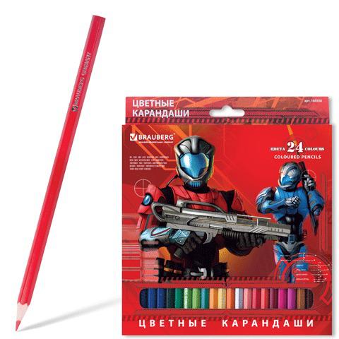 """Карандаши цветные BRAUBERG (Брауберг) """"Star Patrol"""", 24 цветов, заточенные, картонная упаковка, 180558  Код: 180558"""