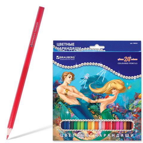 """Карандаши цветные BRAUBERG (Брауберг) """"Морские легенды"""", 24 цветов, заточенные, картонная упаковка с блестками, 180561  Код: 180561"""