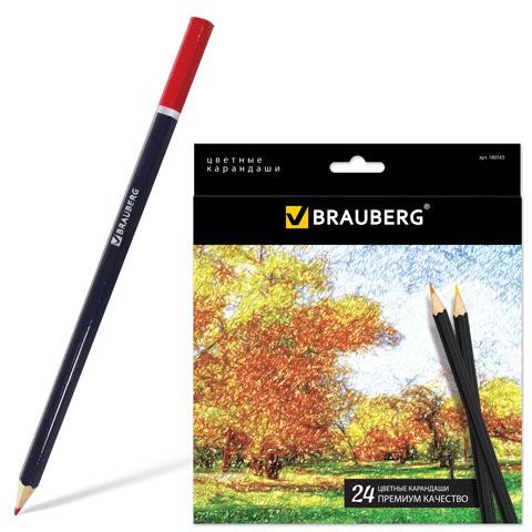 """Карандаши цветные BRAUBERG (Брауберг) """"Artist line"""", 24 цветов, черный корпус, заточенные, высшее качество, 180565  Код: 180565"""