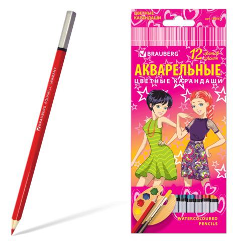 """Карандаши цветные акварельные BRAUBERG (Брауберг) """"Pretty Girls"""", 12 цветов, заточенные, картонная упаковка, 180567  Код: 180567"""