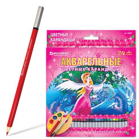 """Карандаши цветные акварельные BRAUBERG (Брауберг) """"Rose Angel"""", 24 цветов, заточенные, картонная упаковка, 180569  Код: 180569"""