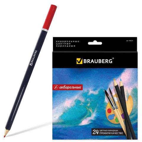 """Карандаши цветные акварельные BRAUBERG (Брауберг) """"Artist line"""", 24 цветов, заточенные, высшее качество, 180570  Код: 180570"""
