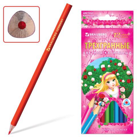 """Карандаши цветные BRAUBERG (Брауберг) """"Rose Angel"""", 12 цветов, трехгранные, заточенные, картонная упаковка, 180594  Код: 180594"""