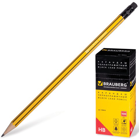 Карандаш ч/гр BRAUBERG, 1шт., НВ, корпус желтый с черными полосами, с резинкой, заточенный, 180614  Код: 180614