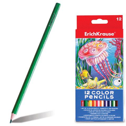 Карандаши цветные ERICH KRAUSE 12 цв, шестигранные, заточенные, европодвес, 32878  Код: 180783