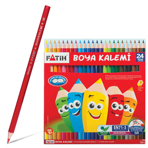 Карандаши цветные PENSAN (FATIH) 24 цв, заточенные, картонная упаковка, 33225  Код: 180799