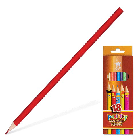 """Карандаши цветные KOH-I-NOOR """"Centi"""", 18 цв, грифель 2,65 мм, заточенные, европодвес, 2143/18  Код: 180818"""