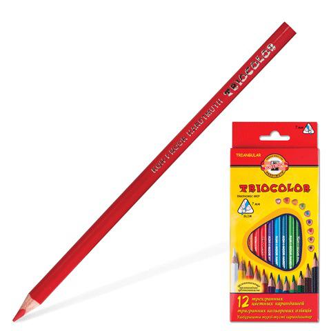 """Карандаши цветные KOH-I-NOOR """"Triocolor"""", 12 цв, трехгранные, грифель 3,2 мм, европодвес, 3132/12  Код: 180821"""