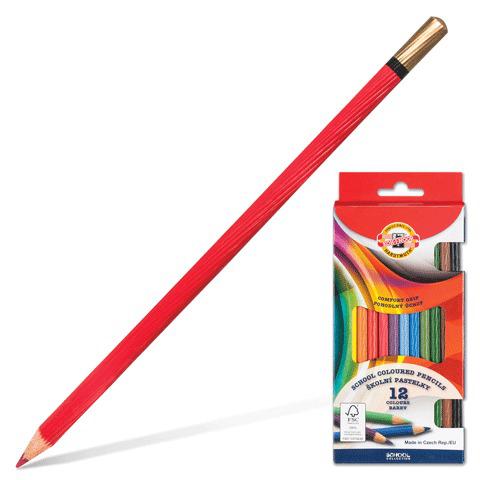 Карандаши цветные KOH-I-NOOR 12 цв, грифель 3,2мм, рифленый корпус, заточенные, европодвес, 2112  Код: 180830