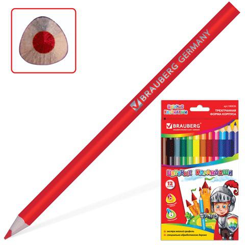 Карандаши цветные утолщенные BRAUBERG, 12 цветов, трехгранные, картонная упаковка, 180836  Код: 180836