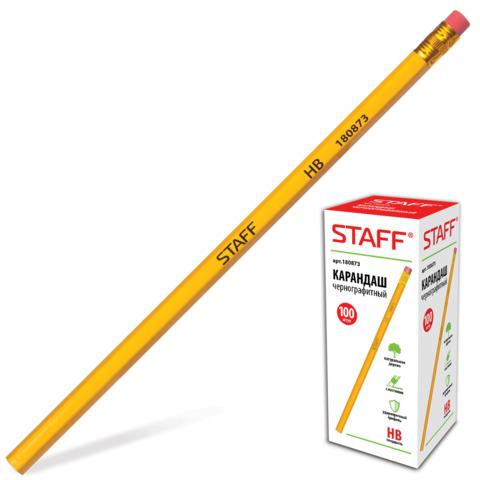 Карандаш чернографитный STAFF, 1 шт., твердость НВ, желтый корпус, с резинкой, незаточенный, 180873  Код: 180873