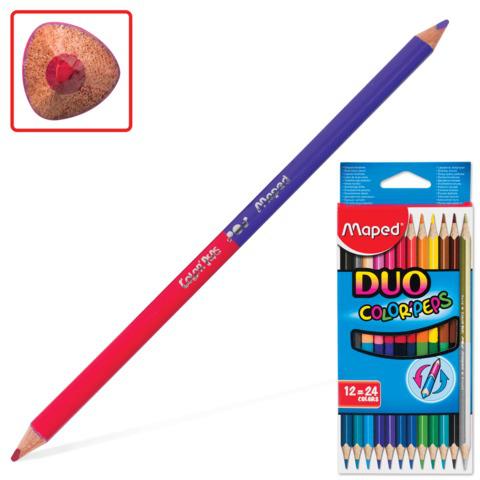 """Карандаши двухцветные MAPED (Франция) """"Color Pep s"""" 12 шт, 24 цв, трехгранные, двусторонние, 829600  Код: 180881"""