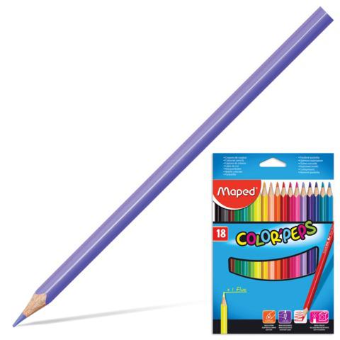 """Карандаши цветные MAPED (Франция) """"Color Pep s"""", 18 цв, трехгранные, заточенные, европодвес, 183218  Код: 180882"""