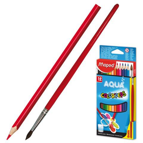 """Карандаши цветные акварельные MAPED (Франция) """"Color Pep s"""", 12 цв +кисть, 2,9мм, европодвес, 836011  Код: 180888"""