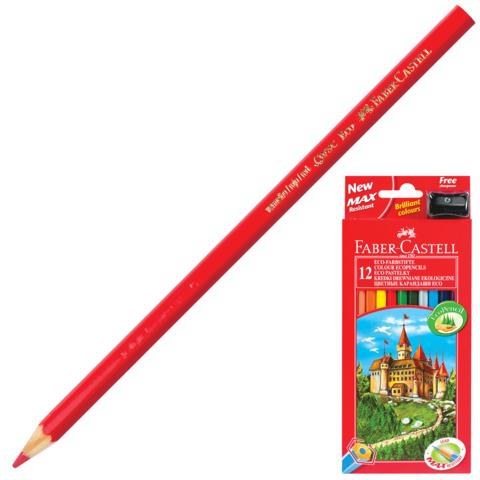 """Карандаши цветные FABER-CASTELL """"ECO Замок"""", 12 цветов, с точилкой, картон. упак., европодвес, 120112  Код: 180934"""