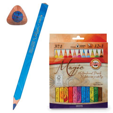 """Карандаши с многоцветным грифелем KOH-I-NOOR, НАБОР 13шт, """"Magic"""", трехганные, 5,6мм, европодв, 3408  Код: 181009"""