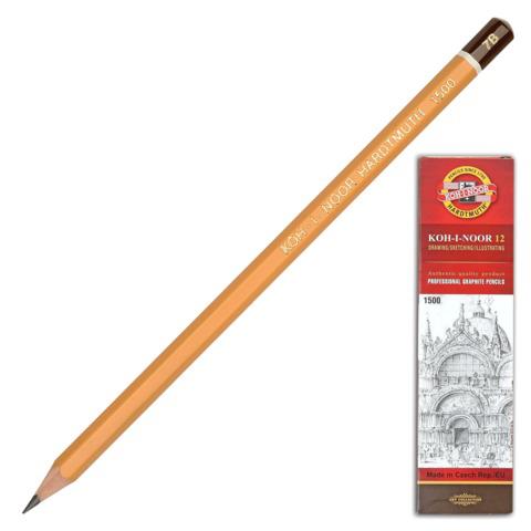 Карандаш ч/гр KOH-I-NOOR 1500, 1шт., 7B, без резинки, корпус желтый, заточенный  Код: 181042