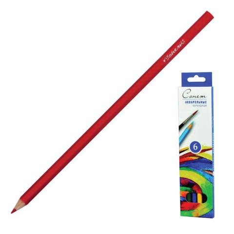 """Карандаши цветные акварельные """"Сонет"""", 6 цв, картонная упаковка с европодвесом, 8141337  Код: 181079"""